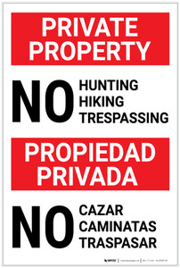 Private Property No Hunting/Hiking/Trespassing Bilingual Spanish - Label
