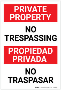 Private Property: No Trespassing Bilingual Spanish Portrait - Label