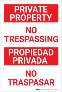 Private Property: No Trespassing Re Text Bilingual Spanish Portrait - Label