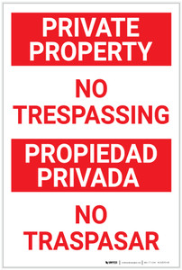 Private Property No Trespassing Red Text Bilingual Spanish - Label