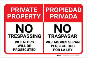 Private Property Bilingual Spanish Landscape - Label