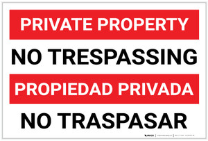 Private Property: No Trespassing Bilingual Spanish - Label