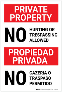 Private Property: No Hunting/Trespassing Allowed Bilingual Spanish - Label