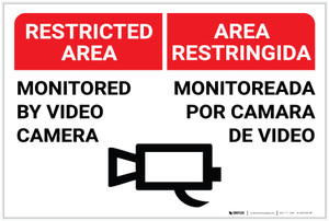 Restricted Area: Monitored by Video Camera with Icon Bilingual Spanish - Label
