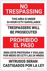 No Trespassing: Bilingual Spanish Surveillance - Label