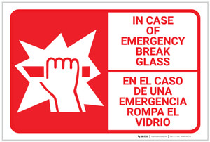 Bilingual Spanish In Case Of Emergency Break Glass - Label