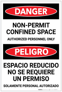 Danger: Bilingual Spanish Non Permit Confined Space Sign Bilingual Spanish - Label