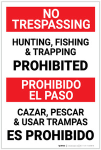 No Trespassing: Bilingual Spanish Posted Private Property Portrait - Label