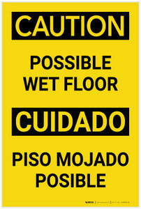 Caution Possible Wet Floor Bilingual Spanish Portrait - Label