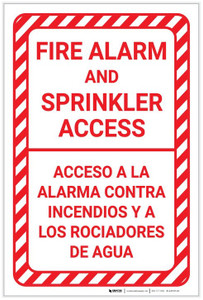 Fire Alarm And Sprinkler Access Bilingual Spanish Portrait - Label