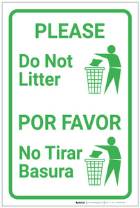Please Do Not Litter Bilingual Spanish with Icon Portrait - Label