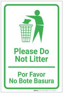 Please Do Not Litter Bilingual Spanish with Large Icon Portrait - Label