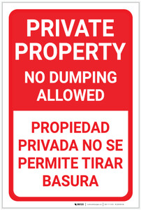 Private Property No Dumping Allowed Bilingual Spanish Portrait - Label
