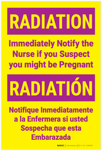 Radiation Notify Nurse if Pregnant Bilingual Spanish Portrait - Label