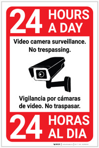 Video Camera Surveillance 24 Hours Bilingual Spanish with Icon Portrait - Label