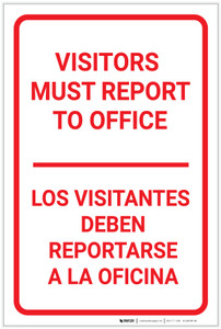 Visitors Must Report To Office Bilingual Spanish Portrait - Label