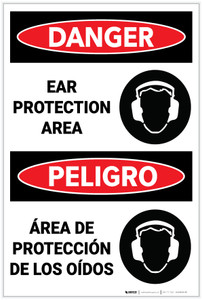 Danger: PPE Ear Protection Area Bilingual - Label