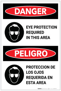 Danger: PPE Eye Protection Required In Area Bilingual - Label
