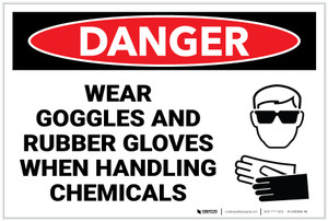 Danger: PPE Goggles and Rubber Gloves While Handling Chemicals - Label