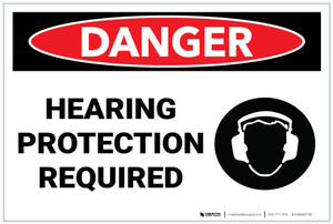 Danger: PPE Hearing Protection Required - Label