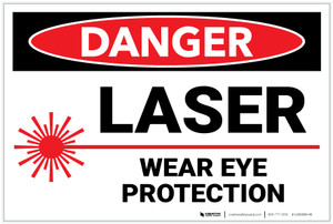 Danger: PPE Laser Wear Eye Protection - Label
