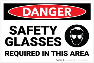 Danger: PPE Safety Glasses Required in Area with Graphic - Label