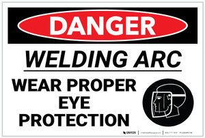 Danger: PPE Welding Arc Wear Eye Protection Face Mask - Label