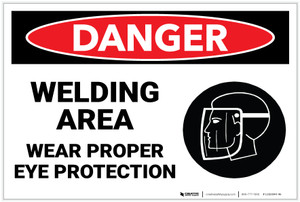 Danger: PPE Welding Area Wear Eye Protection - Label