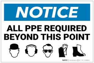 Notice: All PPE Required Beyond This Point - Label