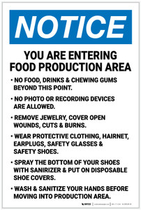 Notice: Food Production Area Rules - Wear PPE - Label