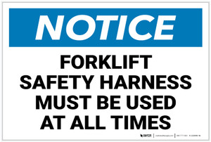Notice: Forklift Safety Harness Must Be Used - Label