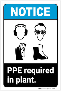 Notice: PPE Required In Plant ANSI - Label