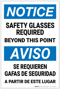 Notice: Safety Glasses Required Bilingual Spanish - Label