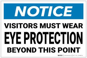 Notice: Visitors Must Wear Eye Protection - Label