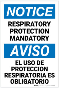 Notice: Respiratory Protection Mandatory Bilingual - Label