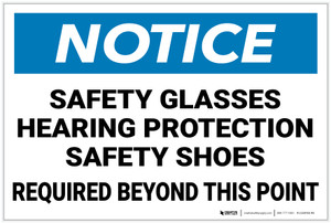 Notice: Safety Glasses Hearing Protection Shoes Required - Label