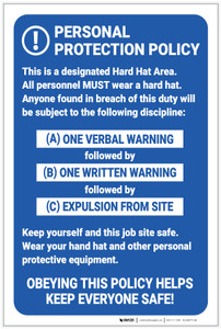 Personal Protection Policy Job Site Safety - Label