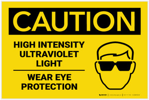 Caution: Ultraviolet Light - Wear Eye Protection with Icon  - Label