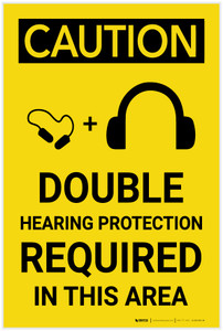 Caution: Double Hearing Protection Required in This Area - Label