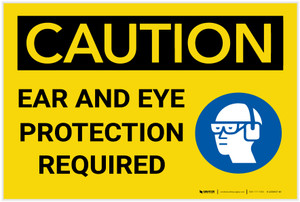 Caution: Ear And Eye Protection Required With Graphic - Label