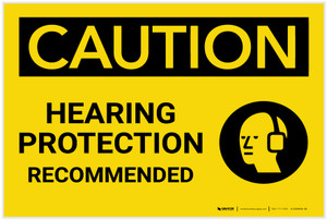 Caution: Hearing Protection Recommended With Graphic - Label