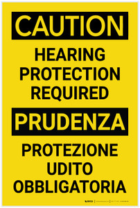 Caution: Hearing Protection Required Bilingual Spanish - Label