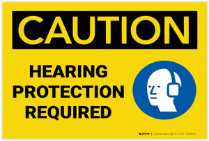 Caution: Hearing Protection Required With Graphic - Label