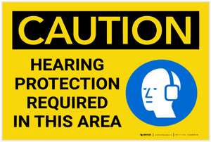 Caution: Hearing Protection Required In Area with Graphic - Label