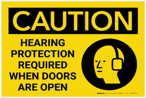 Caution: Hearing Protection Required When Doors Open - Label