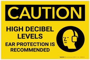 Caution: High Decibel Levels Ear Protection Recommended - Label
