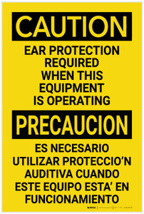 Caution: PPE Ear Protection Required with Equipment Bilingual Spanish - Label