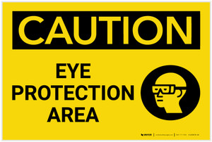 Caution: PPE Eye Protection Area with Graphic - Label