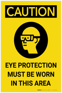 Caution: PPE Eye Protection must be Worn in Area Vertical with Graphic - Label