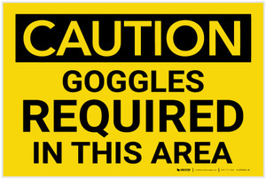 Caution: PPE Goggles Required in This Area - Label